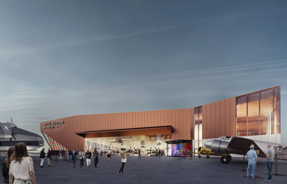 rendering of museum back hangar open