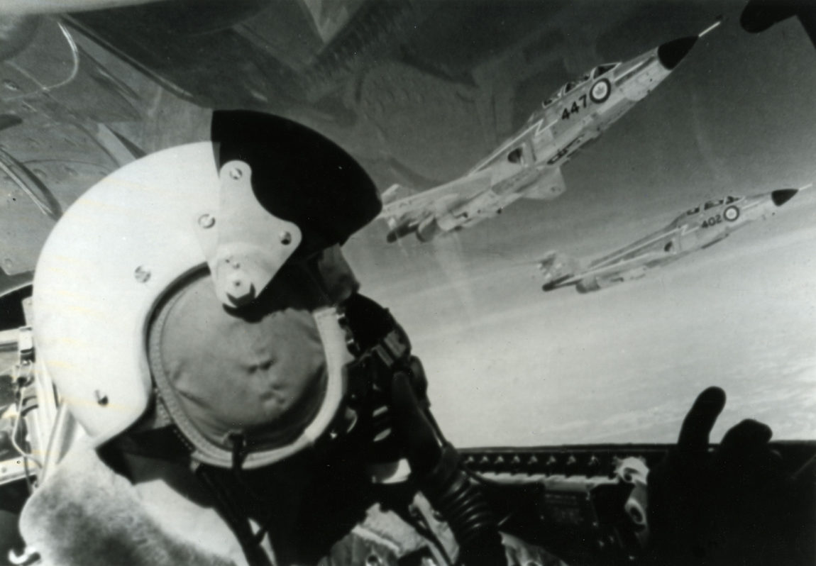 McDonnell F-101B (CF-101) Voodoo - pilot black and white image