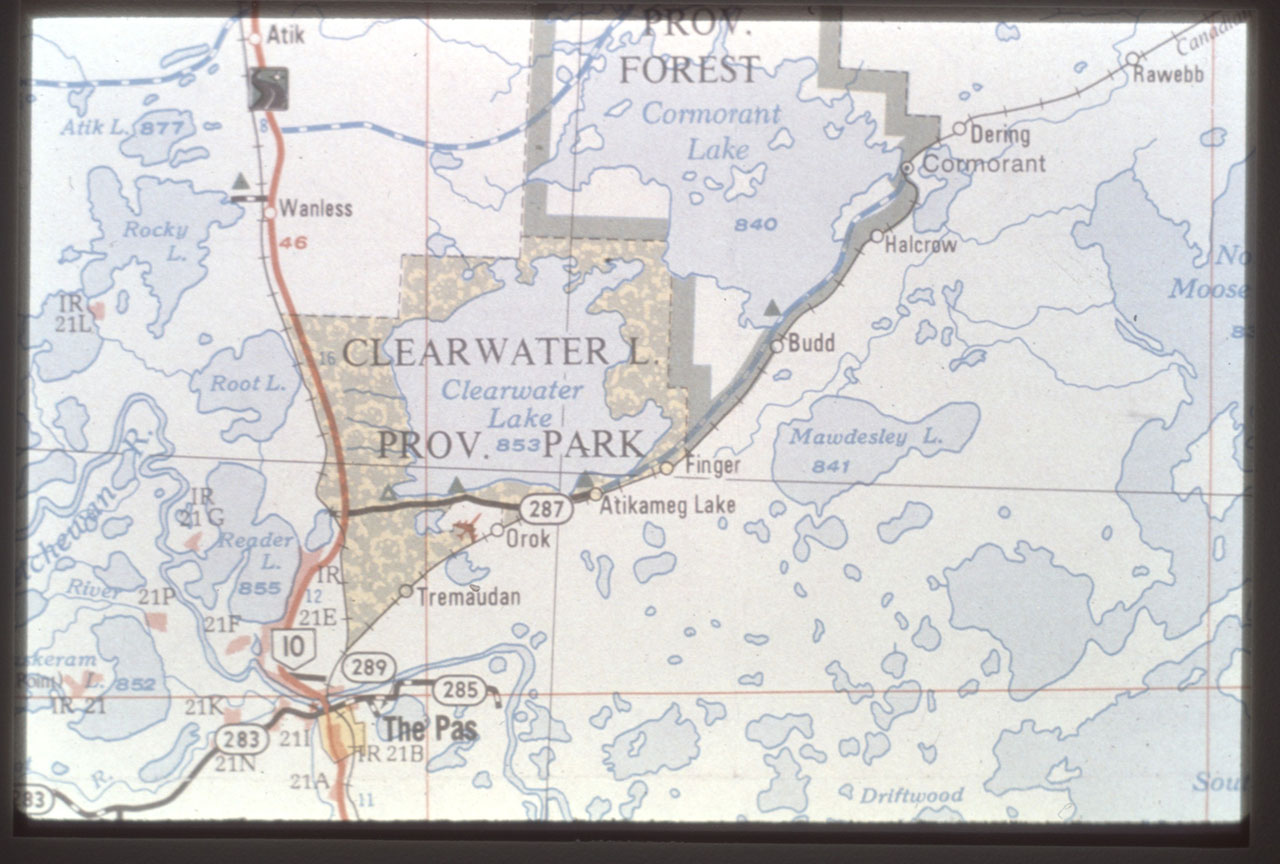 """Map of Cormorant lake area. The site was down the creek that passes through the """"O"""" of Halcrow, south of the east lobe of Cormorant Lake"""